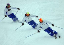 BASI Trainers Skiing in Formation at Interski 2016
